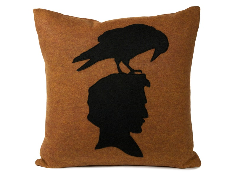 Edgar Allen Poe and Raven shadow silhouette Pillow Cover In image 0