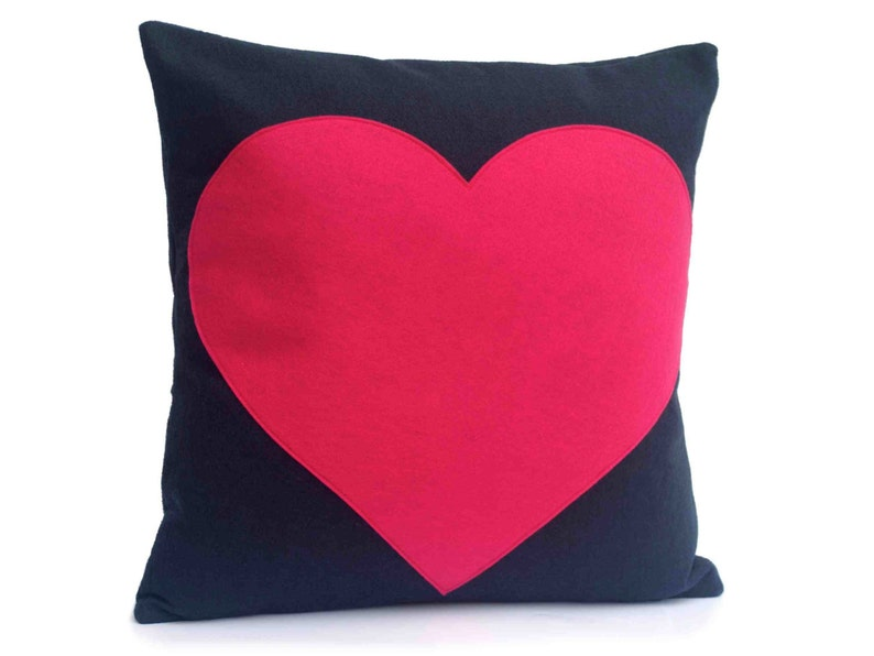 Heart Throw Pillow Cover Appliquéd in Pink on Navy Blue image 0