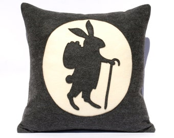 Easter Bunny Pillow Cover - 18 inch Eco Felt in Charcoal Grey and Antique White