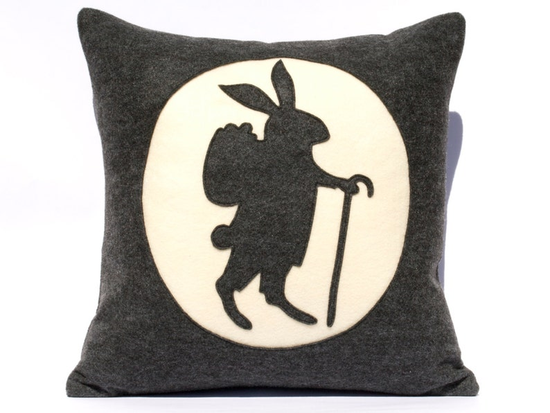 Easter Bunny Pillow Cover  18 inch Eco Felt in Charcoal Grey image 0
