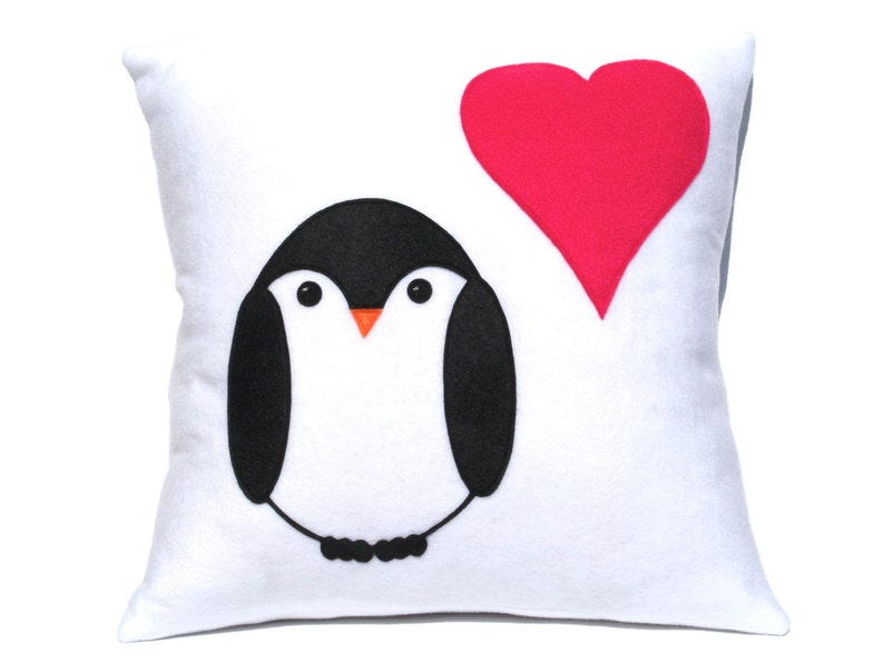Penguin Love Pillow Cover appliquéd Eco-Felt Pink Heart 18 image 0