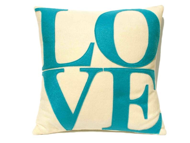 LOVE Throw Pillow Cover Appliquéd in Aqua Turquoise on Antique image 0