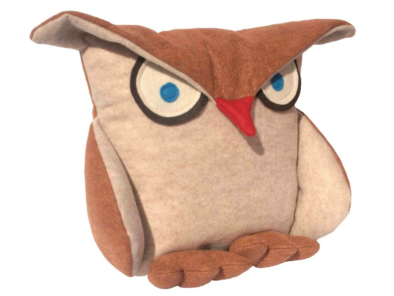Disgruntled Owl  12 inch eco felt pillow cover oatmeal and image 0