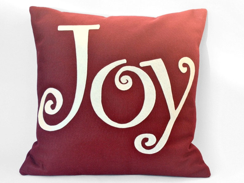 Joy Pillow Cover Appliquéd in Ruby Red and Antique White image 0