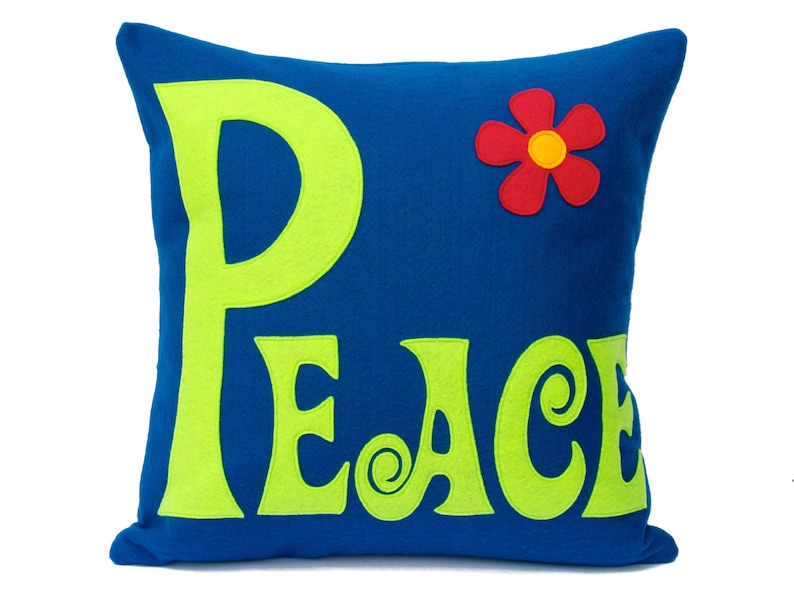 Groovy Peace Appliquéd Pillow Cover in Bright Blue and Spring image 0