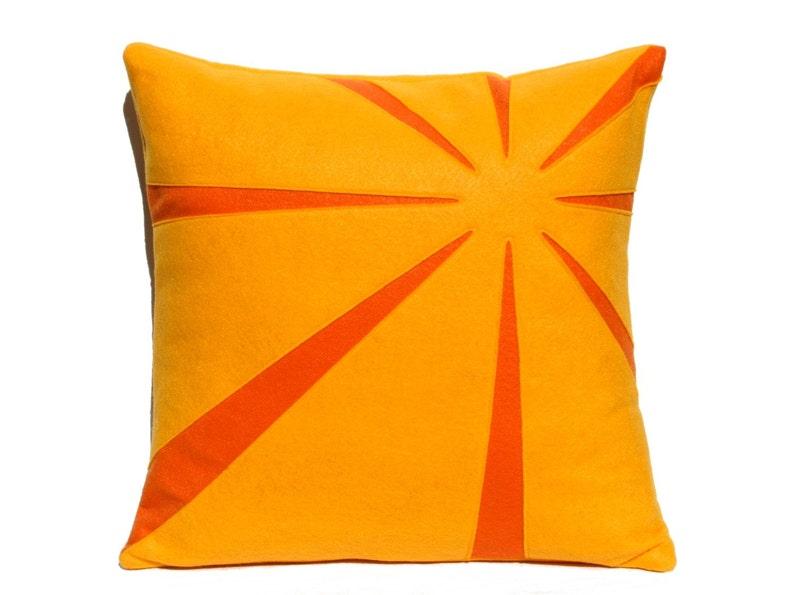Tangerine Sunrise Eco-Felt Pillow Cover 18 inches image 0