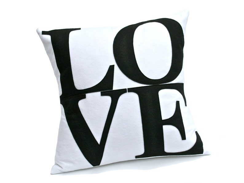 LOVE Throw Pillow Cover Appliquéd in Black on White Eco-Felt image 0
