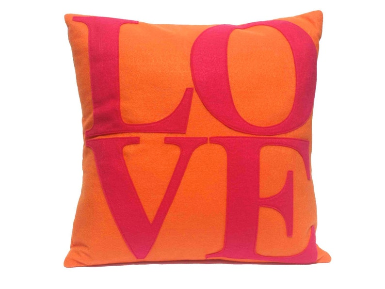 LOVE Throw Pillow Cover Appliquéd in Pink on Orange Eco-Felt image 0