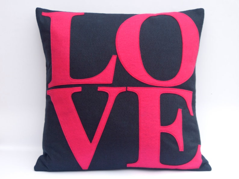 LOVE Throw Pillow Cover 18x18 Appliquéd in Pink on Navy Blue image 0