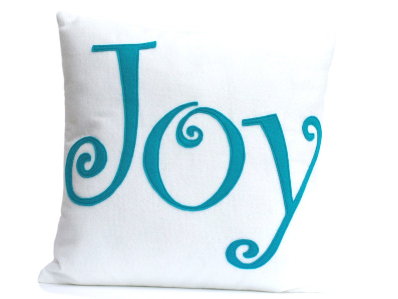 Joy Pillow Cover Appliquéd in White and Peacock Eco-felt 18 image 0