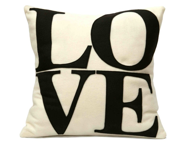Chocolate LOVE Pillow Cover Appliquéd in Cocoa Brown and image 0