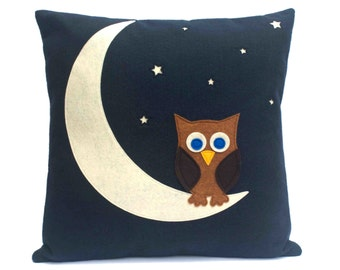 Little Owl Made it to The Moon Throw Pillow Cover appliquéd in Navy Blue Eco-Felt 18 inches