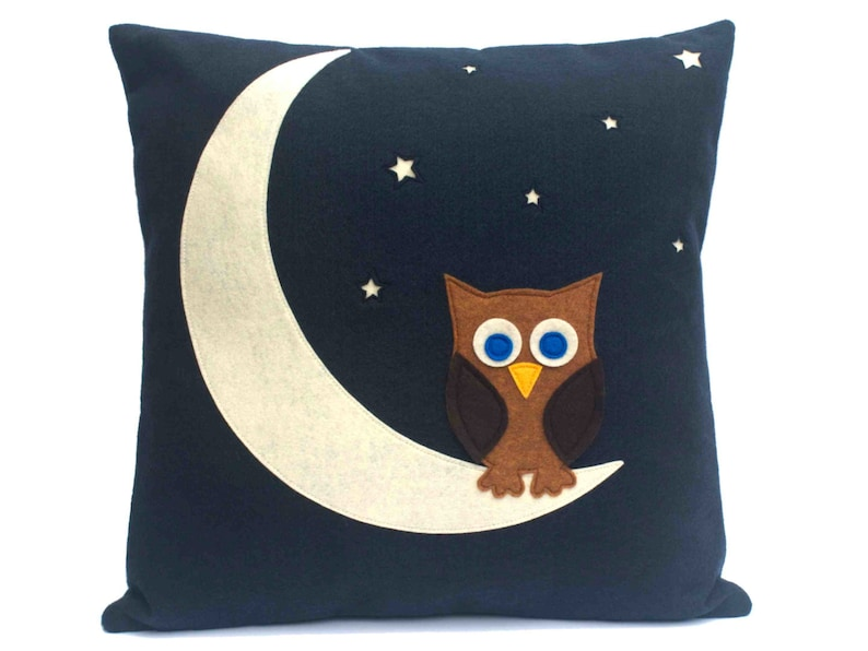 Little Owl Made it to The Moon Throw Pillow Cover appliquéd in image 0
