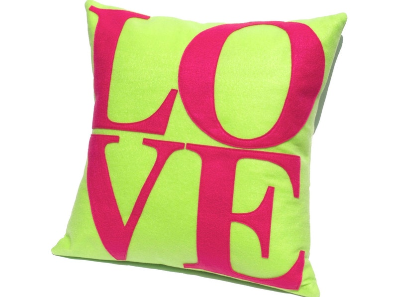 LOVE Pillow Cover Appliquéd in Bright Spring Colors Neon image 0