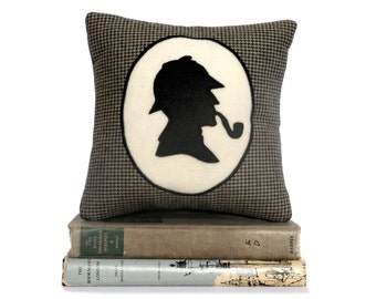 Sherlock Holmes Book Lovers Bookshelf Pillow Houndstooth Shadow Silhouette