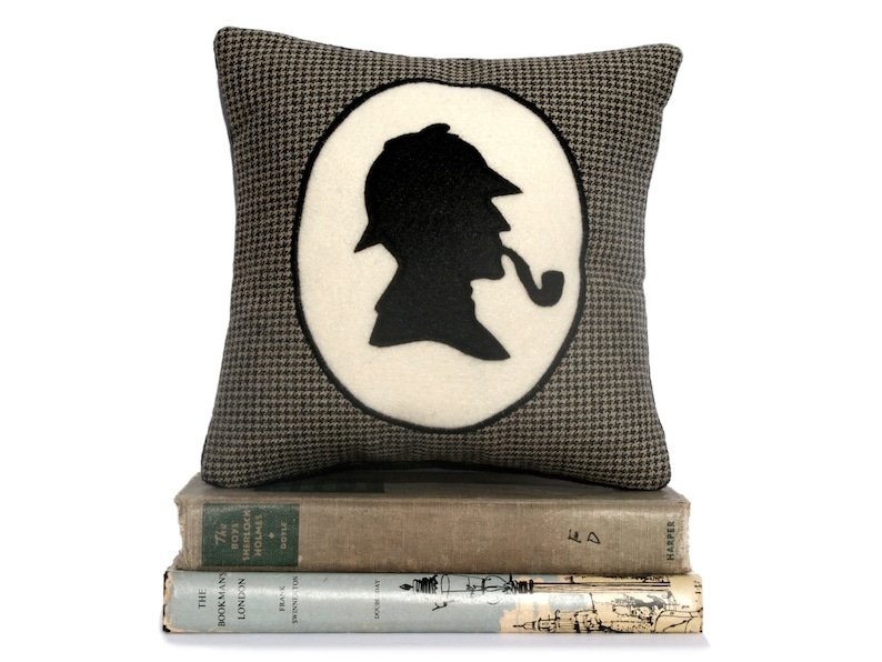 Sherlock Holmes Book Lovers Bookshelf Pillow Houndstooth image 0