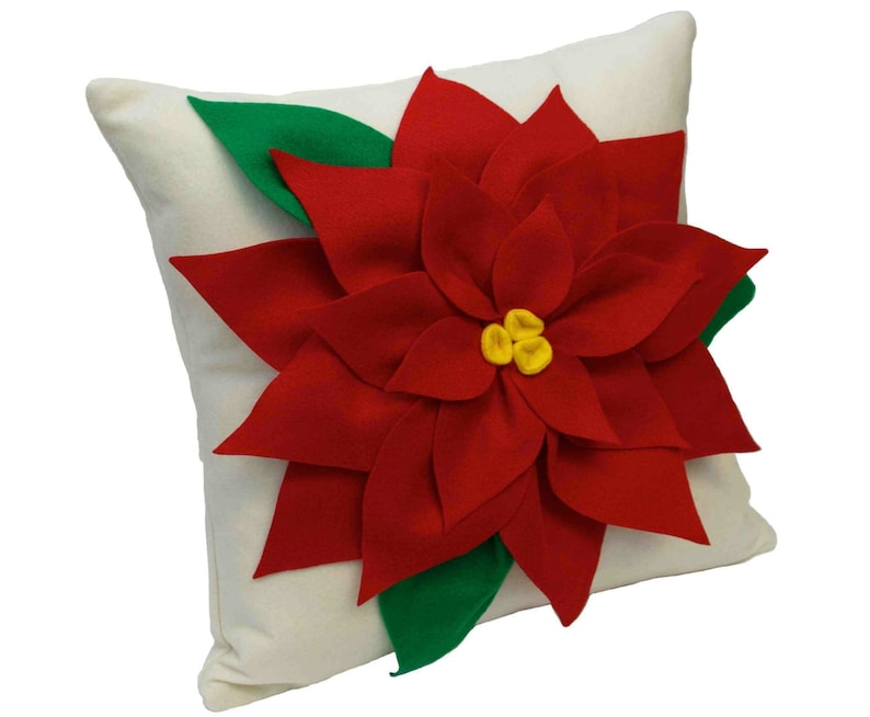 Christmas Poinsettia Pillow Cover Red and Creamy White Eco image 0