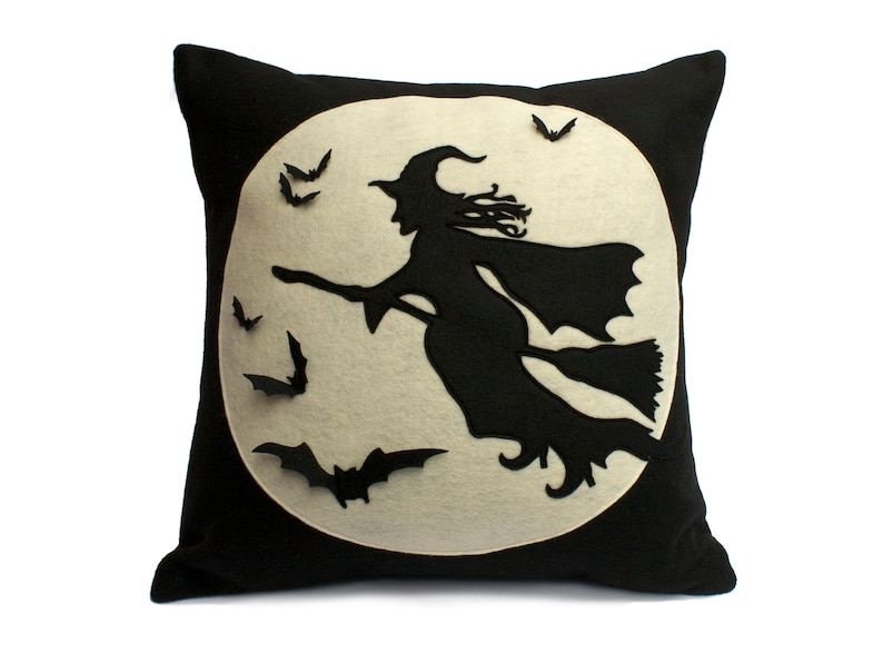 Halloween Witch Pillow Cover  Flight of The Witch  Full Moon image 0