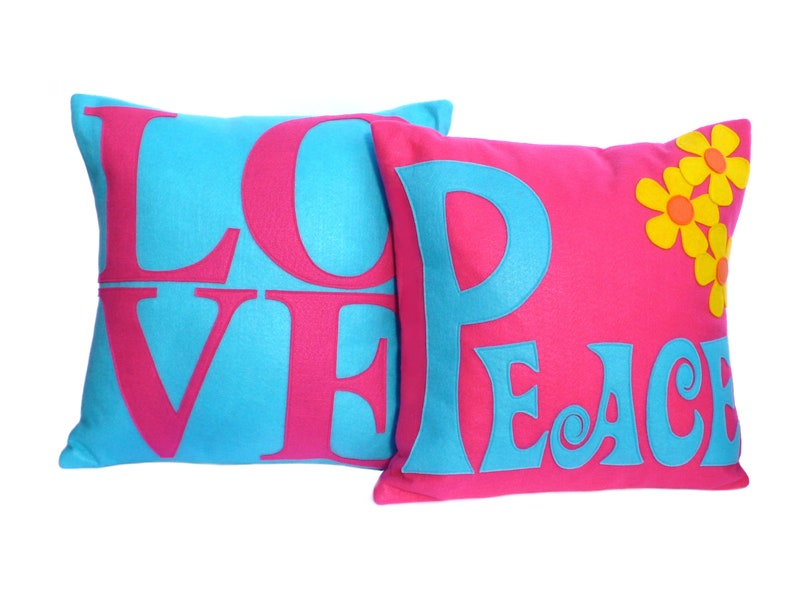 LOVE and Peace Coordinating Throw Pillow Covers Appliquéd in image 0