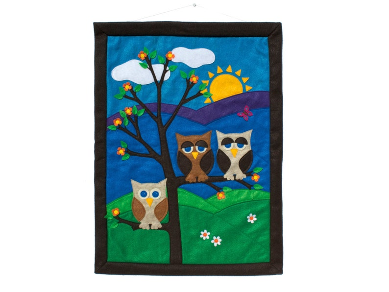 Little Owl Wall Hanging  Family of Three done in Appliquéd image 0