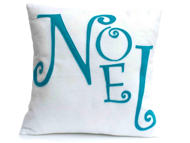 Noel  Appliqued Eco-Felt Throw Pillow Cover in Peacock and image 0