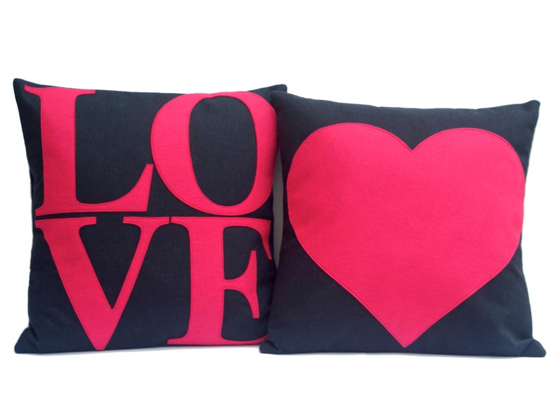 LOVE and Heart Matching Pink and Navy Throw Pillow Covers image 0