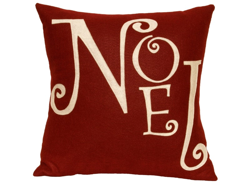 Noel  Christmas Pillow Cover in Ruby Red and Antique White  image 0