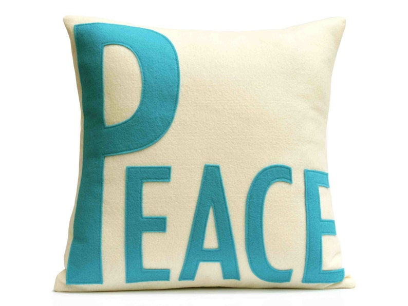 Peace Throw Pillow Cover Appliquéd in Peacock and Antique image 0