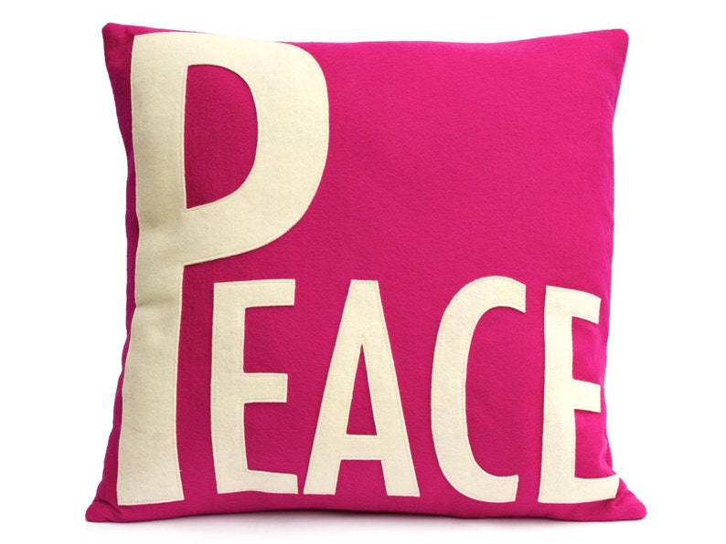 Peace Throw Pillow Cover Appliquéd in Antique White on Fuchsia image 0