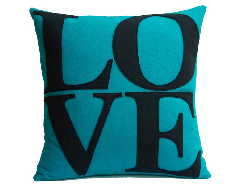LOVE Throw Pillow Cover Appliquéd in Turquoise and Navy image 0