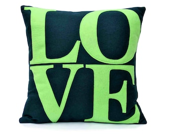 Navy and Green Decorative LOVE Throw Pillow Cover 18x18 For Sofa, Chair, or Bed