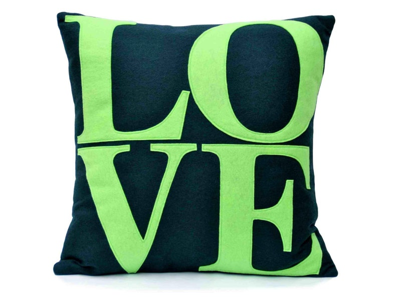 Navy and Green Decorative LOVE Throw Pillow Cover 18x18 For image 0