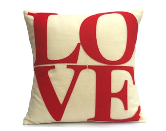 LOVE Throw Pillow Cover Appliquéd in Red on Antique White Eco-Felt 18 inches