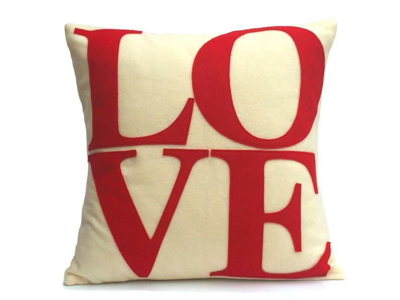 LOVE Throw Pillow Cover Appliquéd in Red on Antique White image 0