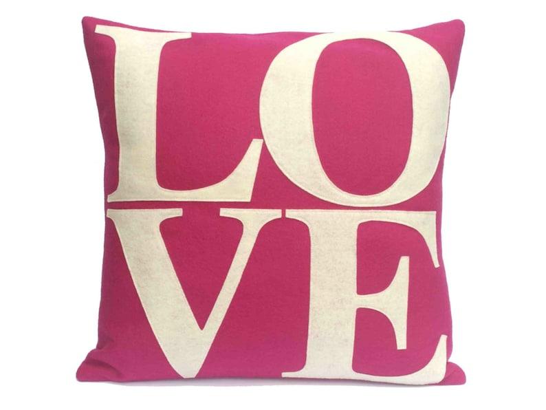 LOVE Throw Pillow Cover Appliquéd in  Antique White on Fucshia image 0