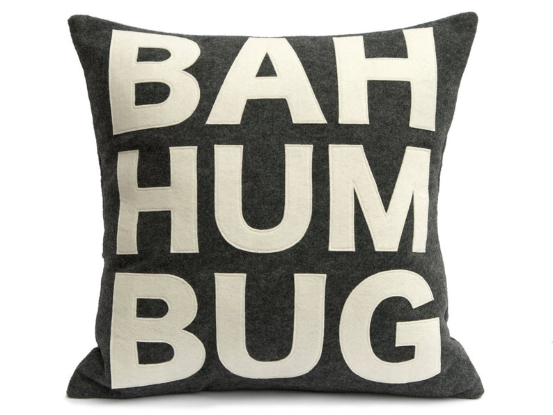Bah Humbug   Pillow Cover in Charcoal and Antique White  18 image 0