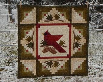"36"" x 36"" Winter's Majesty Cardinal Instant PDF Digital Download Quilt Pattern"