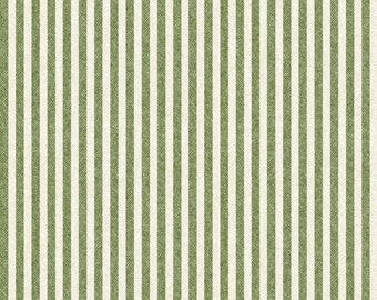 1/2 Yard Cut of Green Wooly Stripe - A Wooly Garden 100% Cotton Quilt Fabric