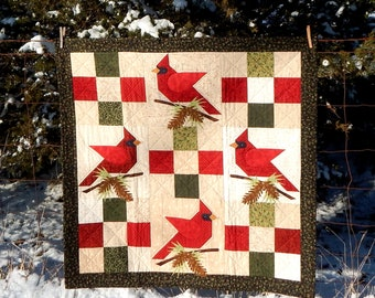 """40"""" x 40"""" Winter's Song Cardinal Instant PDF Digital Download Quilt Pattern"""