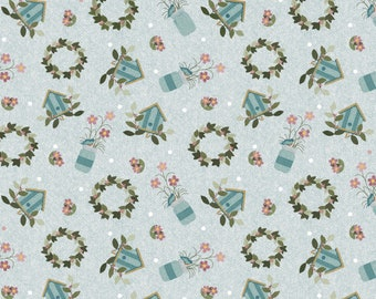 1/2 Yard Cut of Wreath on Blue - A Wooly Garden 100% Cotton Quilt Fabric