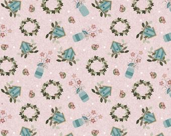 One Yard Cut of Pink Garden Wreaths  - A Wooly Garden 100% Cotton Quilt Fabric