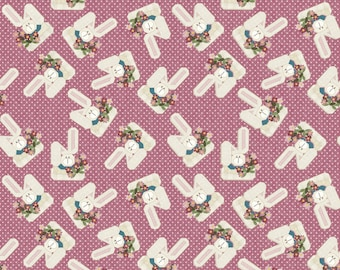 1/2 Yard Cut of Bunny Heads on Pink - A Wooly Garden 100% Cotton Quilt Fabric