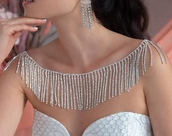 Deva Bridal Shoulder Necklace, Statement Necklace, Bridal Necklace, Shoulder Jewelry, Crystal Necklace, Wedding Jewelry, Shoulder Chain