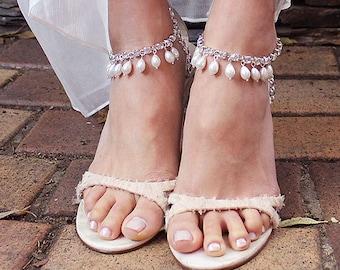 Khaleesi Bohemian Bridal Anklet, Pearl Anklet, Beach Wedding Anklet, Ankle Bracelet, Boho Anklet, Bridal Foot Jewelry, Boho Wedding Anklets