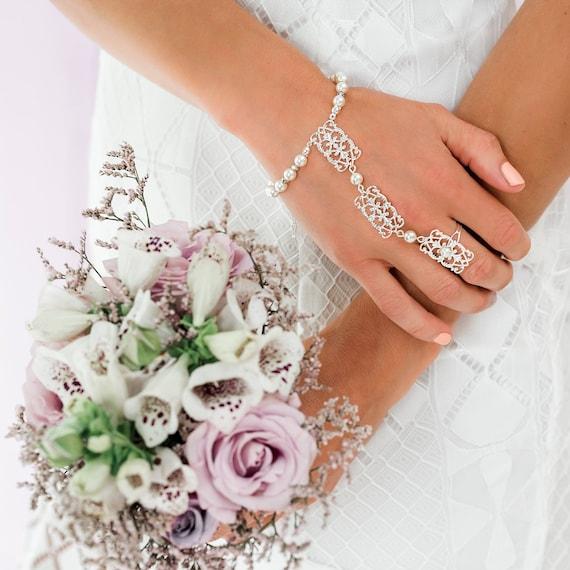 Ember Ring Bracelet Bridal Bracelet Hand Chain Slave Etsy