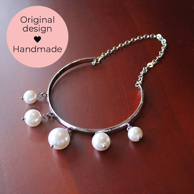 Bridal Jewelry Bridesmaid Gift Cuff Bracelet Pearl Jewelry June Birthday Gift for Her Romee Pearl Bracelet Bangle Bridal Bracelet