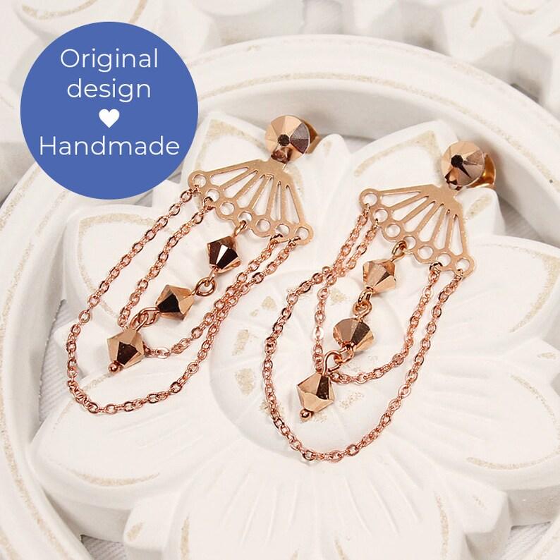 Rose Gold Earrings Gift for Her Birthday Gift Wedding Jewelry Boho Earrings Karmen Modern Bridal Earrings Geometric Earrings Ear Jacket