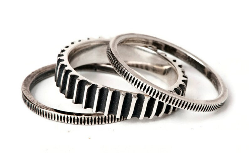 ffa1b880070ebb Silver Triple Cog Ring-Three Combined Rings-Multiple