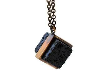 Cool Volcanic-Square Lava B-Lava pendant for man-Grange Necklace-Long Brass Chain-geometric pendant for man-Apocalyptic-Grange Jewelry-MJ