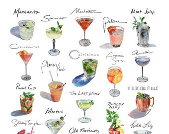 "20"" Square Cocktail Compilation Print"